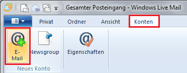 Windows Live Mail E-Mail-Konto Einrichten Screenshot 1
