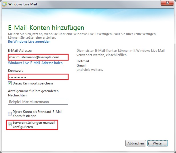 Windows Live Mail E-Mail-Konto Einrichten Screenshot 2