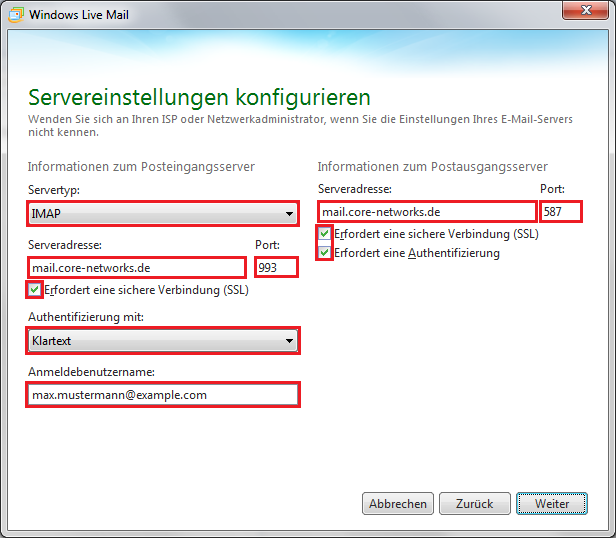 Windows Live Mail E-Mail-Konto Einrichten Screenshot 3